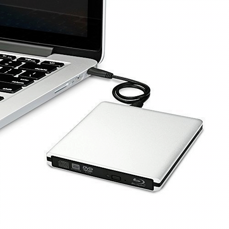 Slim Silver Aolly USB 3.0 External BD Blu Ray DVD+/-RW DVD+/-DL CD+/-RW Drive Writer Burner For WINDOWS 7/8/10 Mac 3D Play