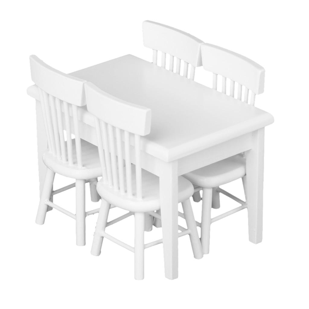 Nueva madera 1 12 Dollhouse miniatura Muebles 5 unids comedor silla  conjunto modelo clásico blanco Juegos de imaginación Juguetes Muebles de  juguete 63b74c2e6459