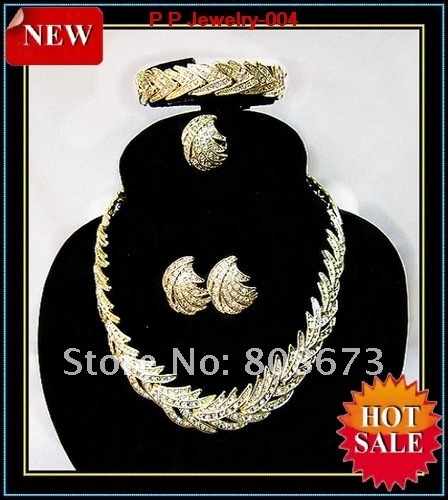 Luxury Jewelry! Gold Plated African Style Wedding Bridesmaid Jewelry Set