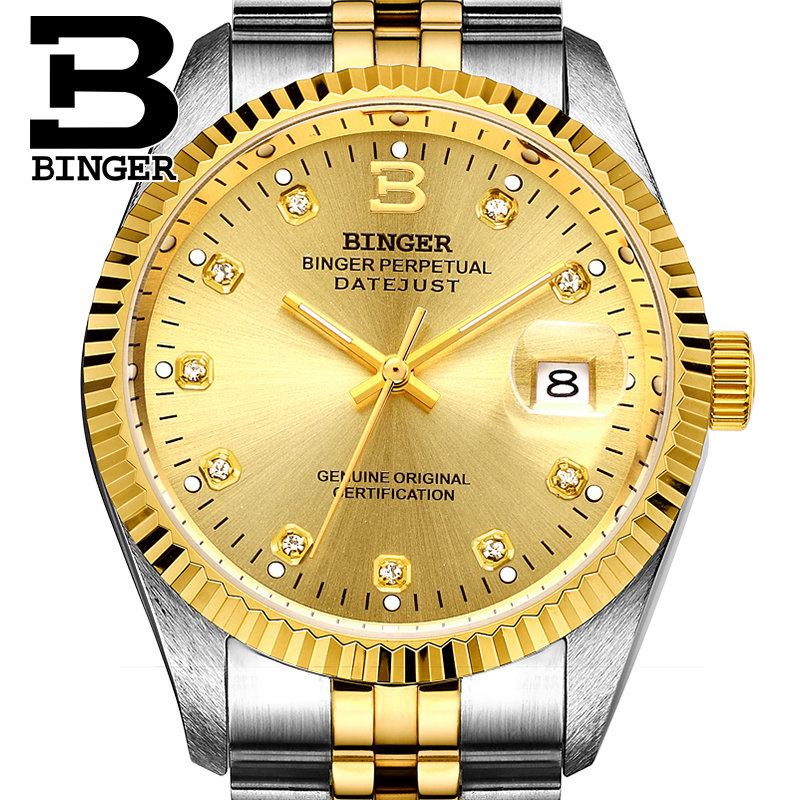 Genuine Luxury BINGER Brand automatic mechanical self-wind Men watch sapphire business waterproof fashion calendar