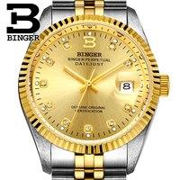 Genuine Luxury BINGER Brand automatic mechanical self wind Men watch sapphire business waterproof fashion calendar
