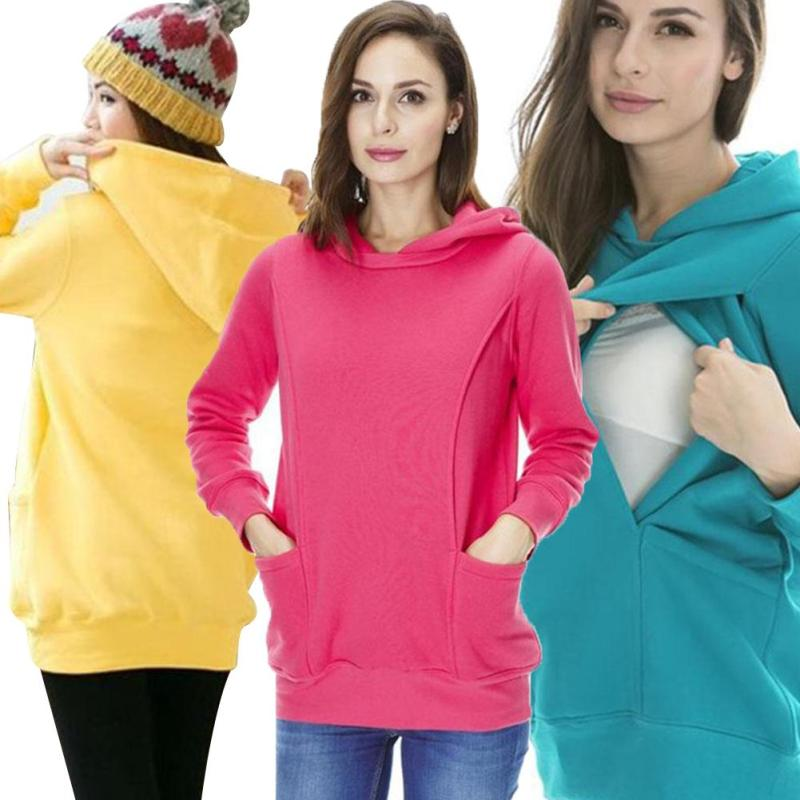2017 Winter Maternity clothes maternity Breastfeeding Tops nursing clothes for pregnant women Maternity Hoodie sweater XV3