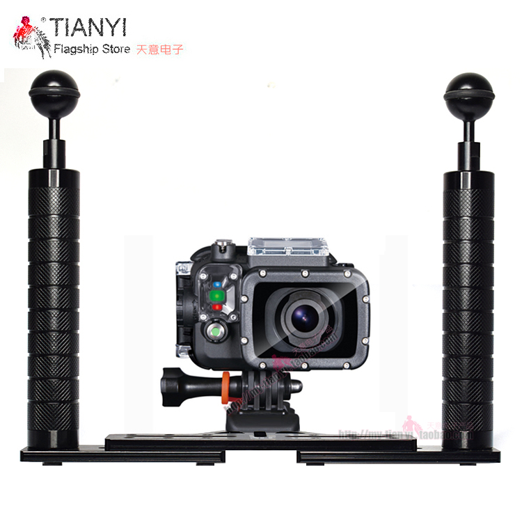 Dual Handle Aluminium Tray Stabilizer Rig for Underwater Camera Housing Case Diving Tray Mount for TG4 TG5 GoPro DSLR Smartphone