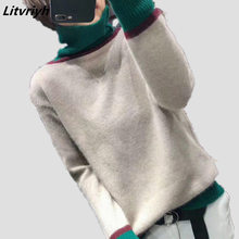 Litvriyh winter turtleneck cashmere knitted sweater women sweaters and pullovers long sleeve thick lady pullover
