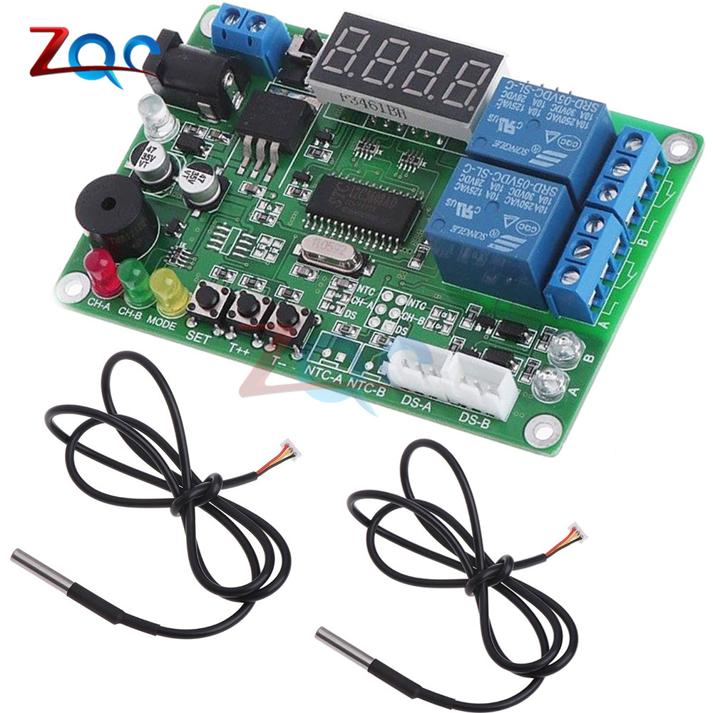 DC 5-24V 2-CH High precision LED Digital Display Intelligent Temperature Controller Thermostat Thermometer With 2 Probe Module цена