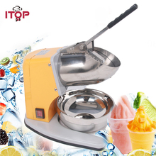 ITOP 180W Ice Crusher Yellow Iron Painting Body Stainless Steel Bowl 60Kgs/h Electric Ice Chopper Commercial Machine