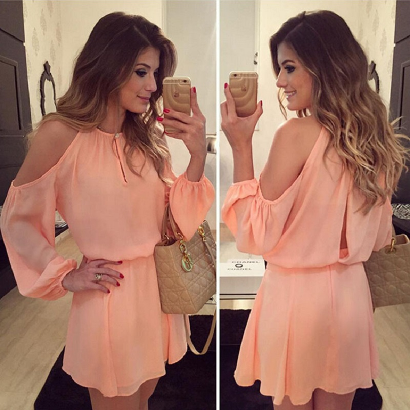 2017 Summer Dress Women Sundress Cute Off Shoulder Full Sleeve Hollow Out Fashion Chiffon Mini Dress Solid Casual Beach Dresses
