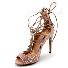 Open Toe Lace-up Shoes Gladiator Summer Sandals Pumps Extreme High Heels Light Pink Colors Party Shoes Womens