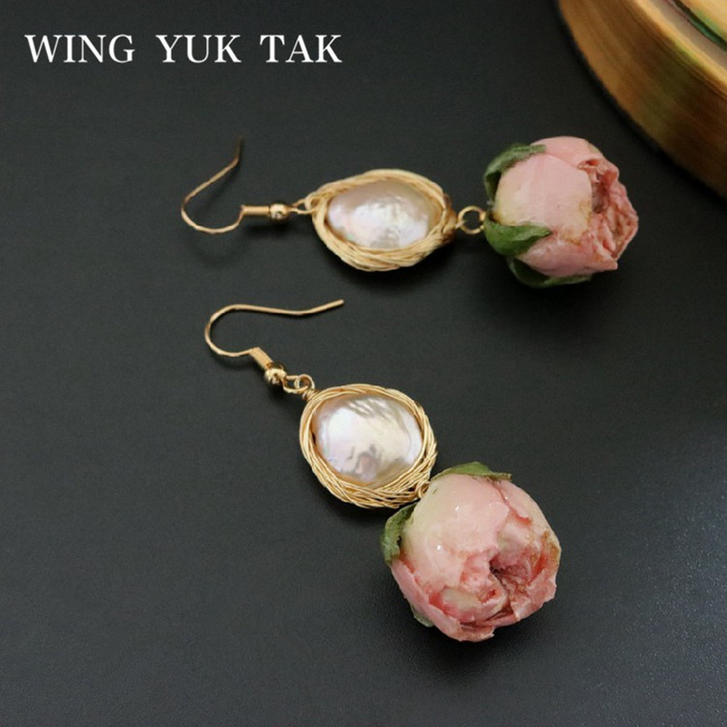Hand Made Dried <font><b>Flowers</b></font> <font><b>Earrings</b></font> <font><b>For</b></font> <font><b>Women</b></font> Freshwater Baroque Pearl Dangle Drop <font><b>Earrings</b></font> Original Design <font><b>Statement</b></font> Jewelry <font><b>2019</b></font> image
