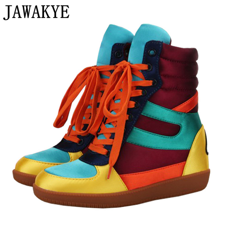 Colorful wedge high heels Ankle Boots for women round toe lace up hip hop casual shoes 2018 Fall winter high top botas mujer Colorful wedge high heels Ankle Boots for women round toe lace up hip hop casual shoes 2018 Fall winter high top botas mujer