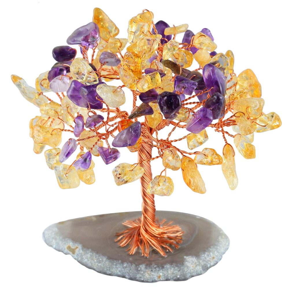 TUMBEELLUWA Healing Crystal Money Tree with Agate Slices Base Bonsai Home Office Decoration for Wealth and Luck in Jewelry Packaging Display from Jewelry Accessories