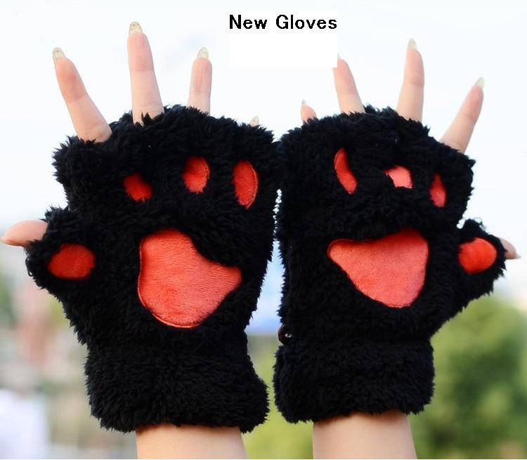 2017 new cat claw cute cartoon cat girls winter gloves. Black Bedroom Furniture Sets. Home Design Ideas