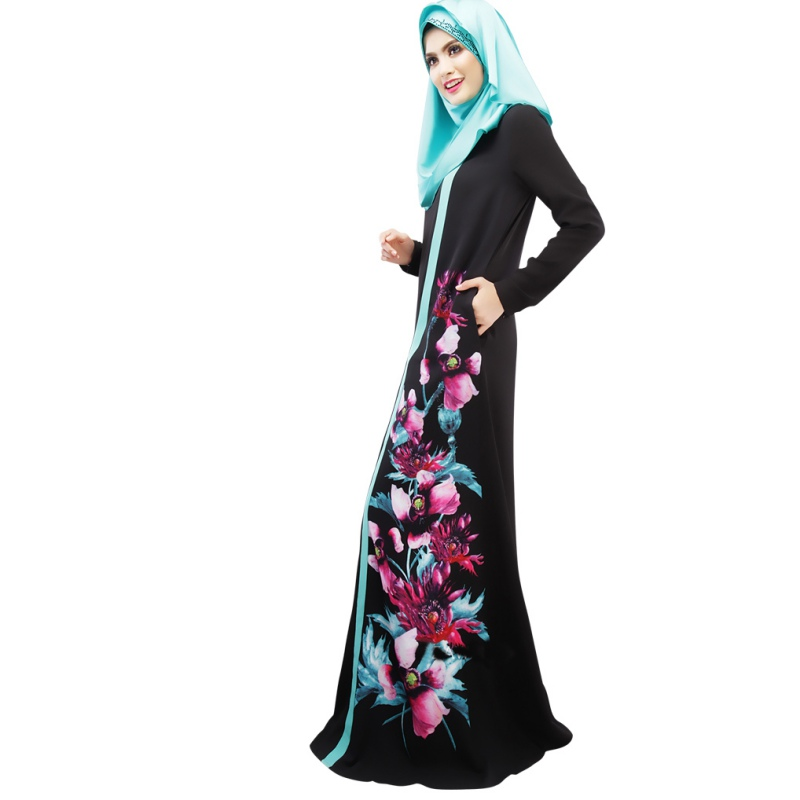 Kaftan Abaya Muslim Dress Women Fashion Floral Print Long Sleeve Cocktail Maxi Dresses