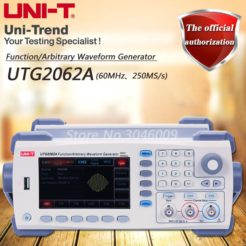 UNI-T UTG2062A Function/Arbitrary Waveform Generator/Dual Channel/60MHz Channel Bandwidth/250MS/s Sample Rate