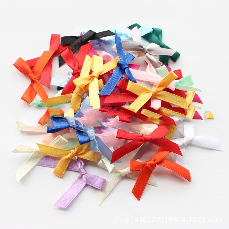 500 Pcs//lot Mini SMALL Ribbon Bows Assorted Colours Satin Fad.