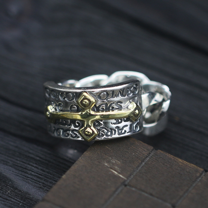 S925 Sterling Silver Brass Cross Stitch Ring Retro Thai Silver Quilted Finger Rings Tide Men And Women Ring