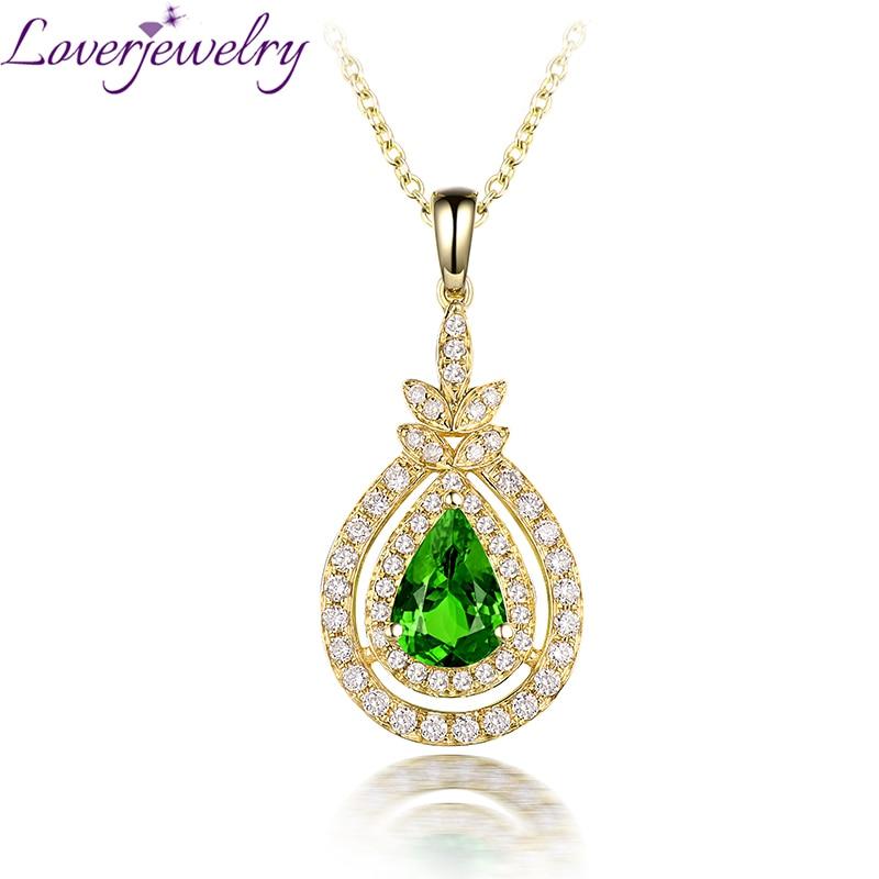 все цены на Fine Jewelry Natural Tsavorite Pendant Necklace 14K Yellow Gold Good Shinning Diamond for Women Wedding WP083B онлайн