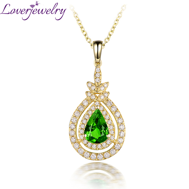 Fine jewelry natural tsavorite pendant necklace 14k yellow gold good fine jewelry natural tsavorite pendant necklace 14k yellow gold good shinning diamond for women wedding wp083b aloadofball