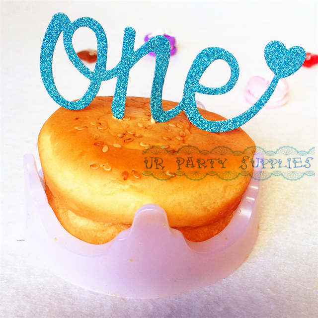 Placeholder Free Shipping 200pcs One Cake Topper 1st First Birthday Smash Glitter Gold Silver