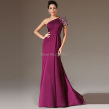 Custom Made Long Fitted Prom Dress  One Shoulder Beaded Short Sleeve Purple Chiffon Formal Evening Party Gown abendkleider