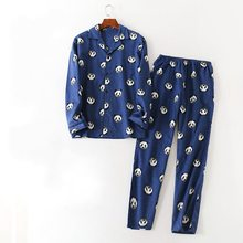 Осенние пижамы XL, Мужские пижамные комплекты с героями мультфильмов, мужской полированный чистый хлопковый пижамный комплект, рубашка с отложным воротником и штаны