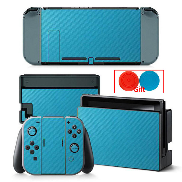 Carbon Fiber Sticker For Nintendo Switch Protection Skin Console Protector Stickers + 2pcs Silicone Protection Caps 1