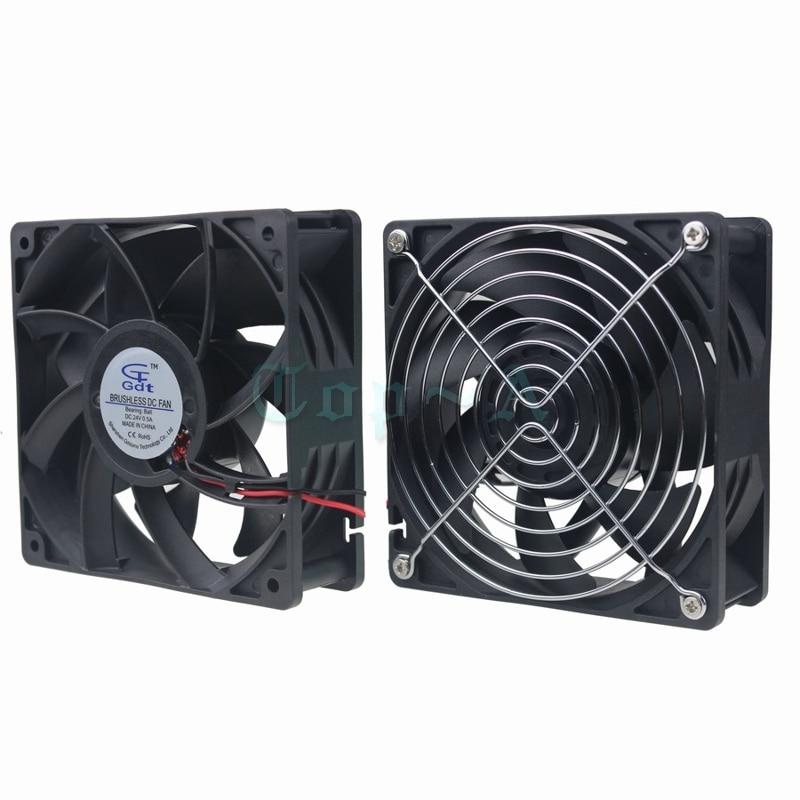 Gdstime 1 Piece DC 24V 12cm 120x120x38mm Ball bearing Cooling Fan 120mm x38mm CPU PC Case Cooler + Fan Grills Protect Net sxdool 380v cooling fan 12038 12cm 120mm 0 04a double ball bearing server inverter pc case cooling fan