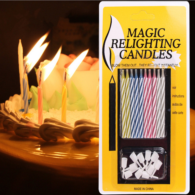 Magic Colorful Birthday Cake Relighting Candle Thread Blowing Funny Tricky Toy Eternal Candles