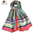 [Marte&Joven] New Fashion Women Geometric Color Matching Printed Fringed Long Scarves and Shawls Ladies Bandana 180*100cm