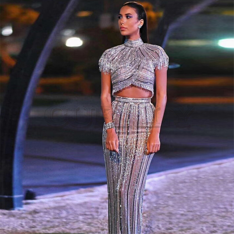 Cuerly Fashion Silver Sequin Shining Celebrity Evening Party Dress Women Vestidos Good Quality Two Pieces Set Bodycon Suit