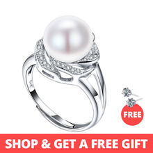 925 sterling silver jewelry on sale big natural pearl rings for women stone ring adjustable white/pink/purple pearl for women(China)