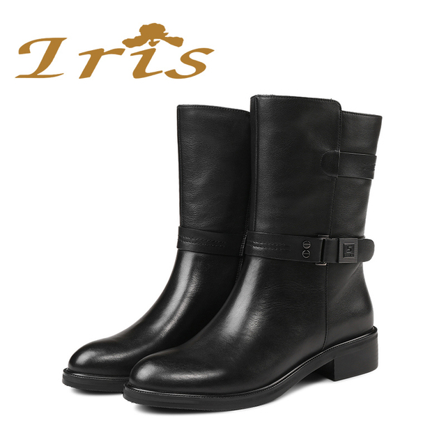 IRIS Mid Calf Boots Women Black Genuine Leather Round Toe Flat Heels Motocyle Boots Hademade High Quality Short Boots 2017 New 3