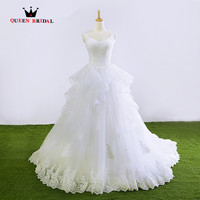 Custom Made Ball Gown Ruffle Tulle Lace Beading Elegant Long Formal Bridal Gowns Wedding Dresses Vestidos