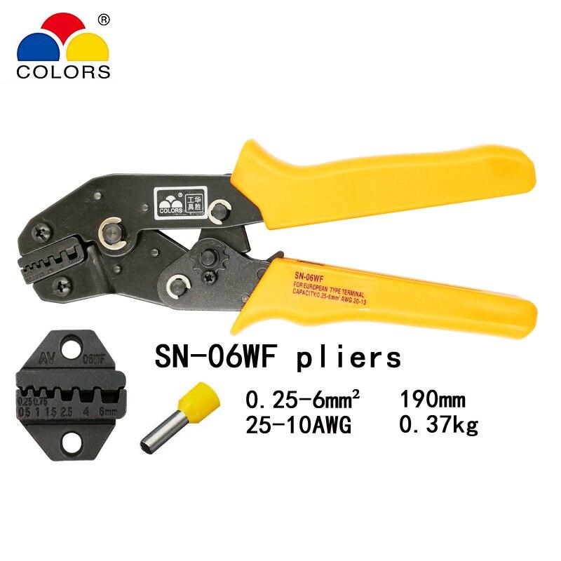 Цвета SN 06WF 0,25 6 мм2 24 10AWG обжимные плоскогубцы Европейский стиль для трубчатого зажима саморегулирующиеся ручные инструменты|Плоскогубцы|   | АлиЭкспресс