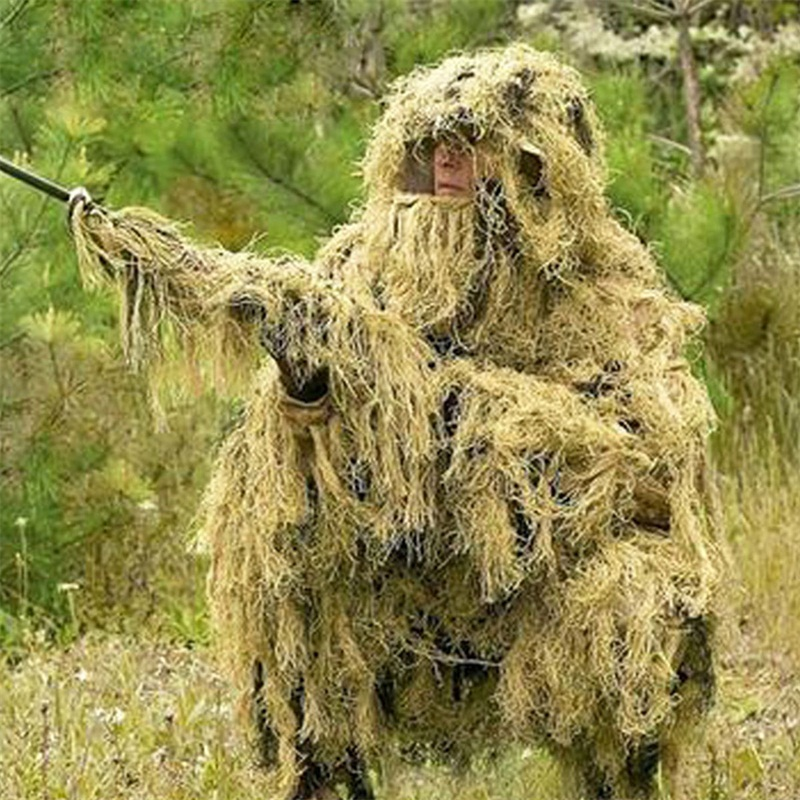 Outdoor Military Camouflage Shade Survival Training Hunt Clothing Jungle Woodland 3D Bionic Leaf Hunting Ghillie Suits Sniper military camouflage ghillie suit woodland grass hay style paintball leaf jungle sniper clothes hunting tactical shade clothing