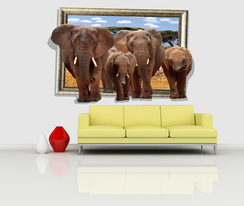 3d Europe Scenery Animal Elephant Wall Stickers For Living Room ...