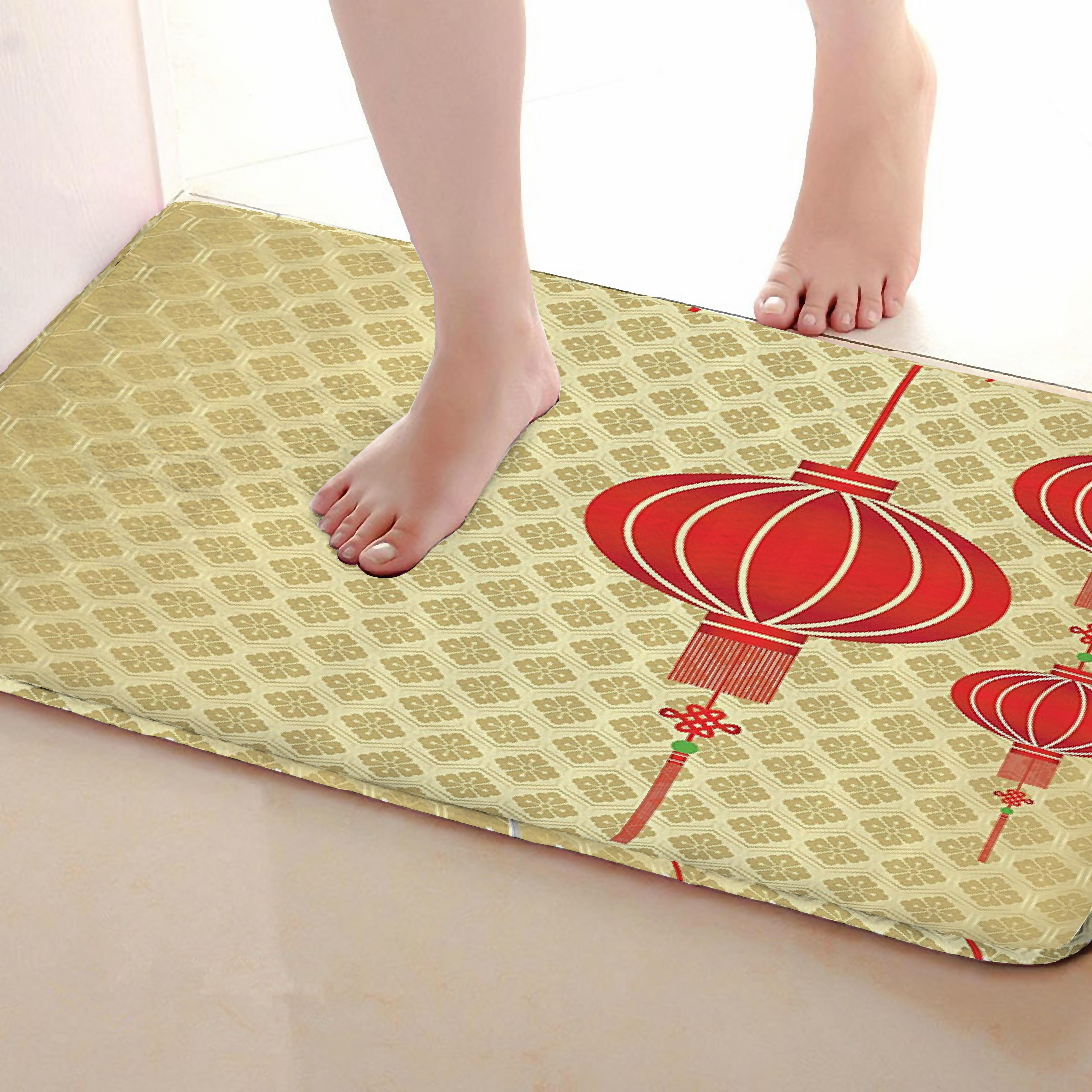 Red Lantern Style Bathroom Mat,Funny Anti skid Bath Mat,Shower Curtains Accessories,Matching Your Shower Curtain