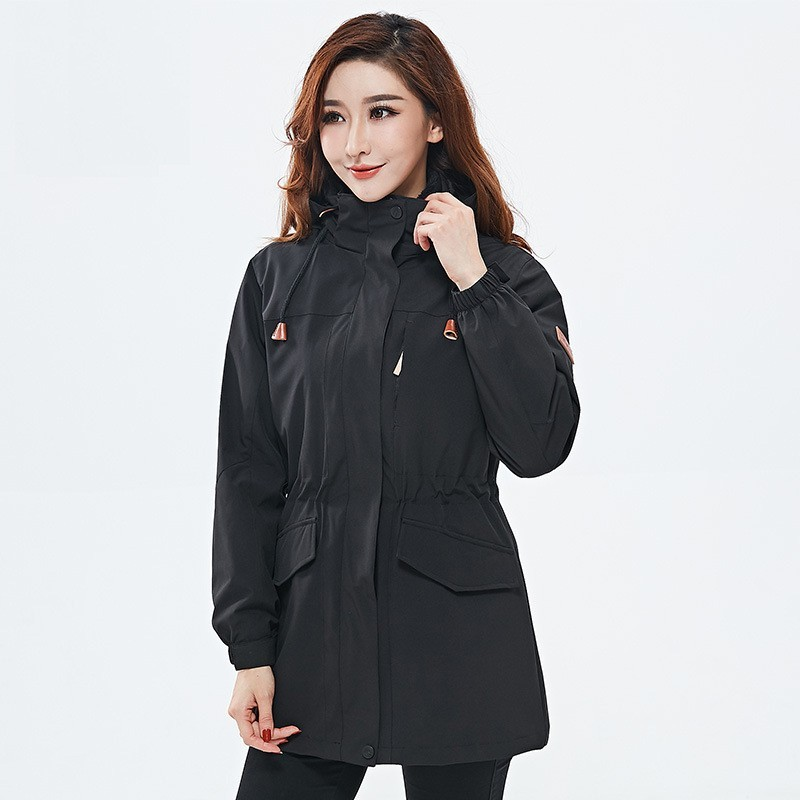 Autumn winter Women's outdoor 3 in 1 medium long two-piece windbreaker jacket Female windproof Thermal Camping Hiking ski coat cqb winter men two piece set outdoor jacket waterproof windproof mountaineering coat camping hiking thermal jacket
