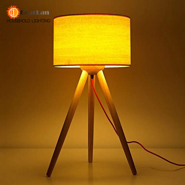 Placeholder Wooden Art 3 Foot Reading Table Lamps Cloth Lamp Shade Modern For Foyer Living