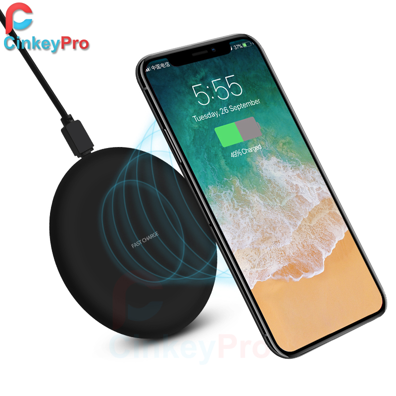 CinkeyPro Wireless Charger Charging Pad for iPhone 8 10 X Samsung S7 S8 5V/1A Adapter Charge Mobile Phone QI Device Universal(China)