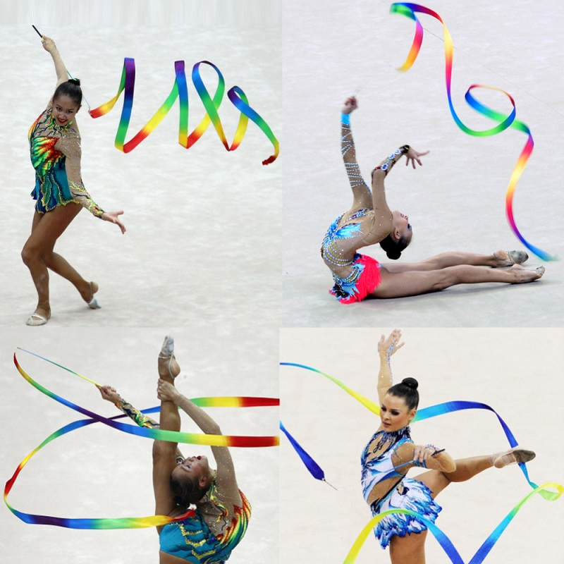 4M Dance Ribbon Gym Rhythmic Gymnastics Art Gymnastic Ballet Streamer Twirling Rod Outdoor Sport Games For Kids Children Toys