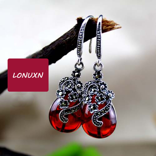 4cm 925 Sterling Silver Semi Precious Stones Garnet Earrings Fashion Retro Dangle Red Women