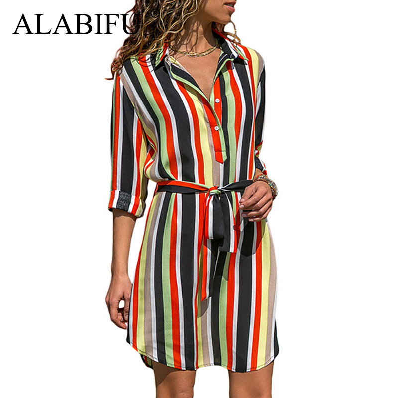 ALABIFU Chiffon Long Women Striped   Shirt   Dress Summer 2019 Long Sleeve Office   Blouses     Shirt   Vintage Casual Women   Blouses   Top 2XL