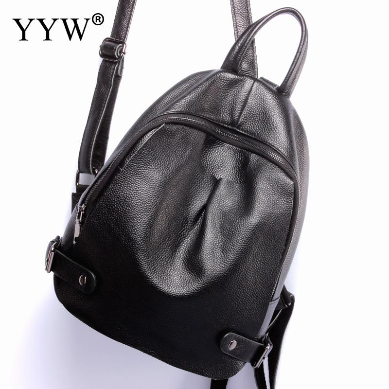 Fashion Black PU Leather Backpack Female Solid Backpacks for Adolescent Girls Women Casual Small Travel Bag School Bag