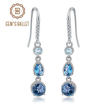 GEM'S BALLET Topaz Jewelry 925 Sterling Silver Elegant Brincos Natural London Blue Topaz Dangle Earrings for Women Wedding - DISCOUNT ITEM  45% OFF All Category