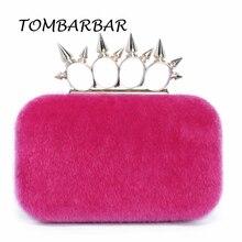 TOMBARBAR Fashion Evening Bags Women Party Rabbit Fur Mini Handbag Vintage Bag Rivet Women Wallets Knuckle Box TM-EB201603