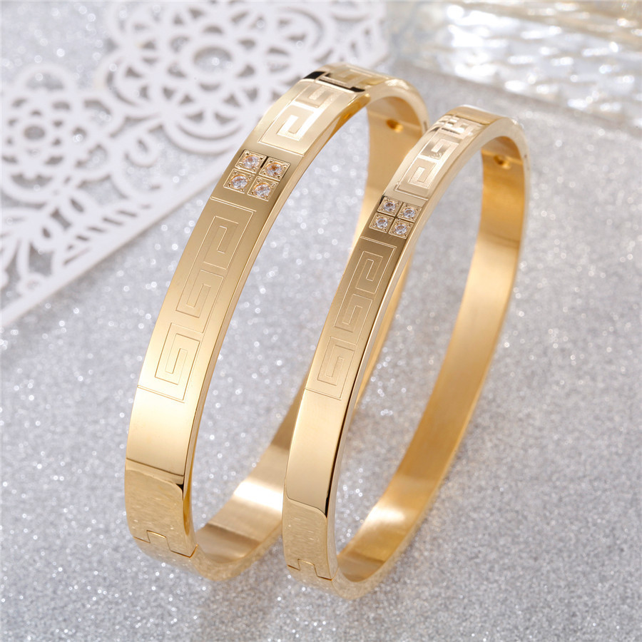 Trendy Stainless Steel Bracelet Bangle For Women Men Yellow Gold Silver Rose Gold Bracelets Girl Lover Fashion Jewelry Accessory