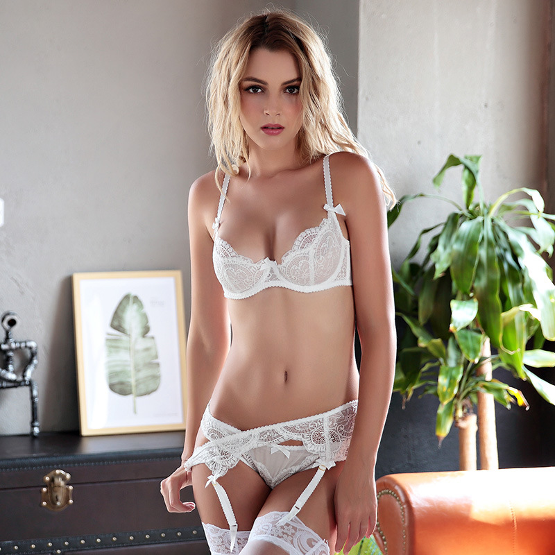 New White Lingerie   Set   Brand Women Sheerness Lace Bows Push Up Italy Sexy Underwear Transparent   Bra     Sets   Lolita Ultra Thin 42C D