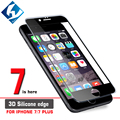 3D Silicone Edge Tempered Glass For iphone 7 7plus Full Screen Protector TPU edge Glass Protective For iphone7 Free Case