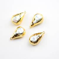 10pcs/lot Gold Copper Electroplated with White Pearl Shell Drop Pendants Accessories,Shell Charm Beading Earrings Jewelry